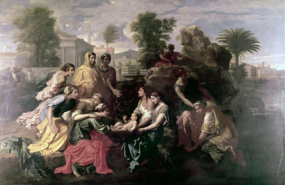 konfigurieren des Kunstdrucks in Wunschgröße Discovery of Moses von Poussin, Nicolas