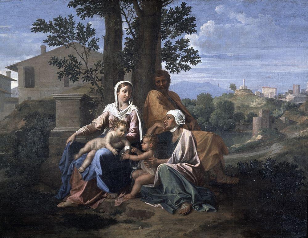 konfigurieren des Kunstdrucks in Wunschgröße Holy Family In a Landscape von Poussin, Nicolas