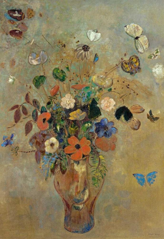 konfigurieren des Kunstdrucks in Wunschgröße Bouquet of Flowers with Butterflies von Redon, Odilion