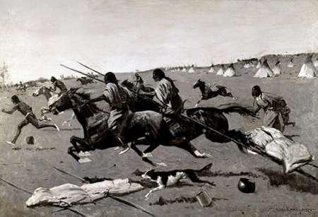 konfigurieren des Kunstdrucks in Wunschgröße Indian Village Routed, Geronimo Fleeing From Camp von Remington, Frederic