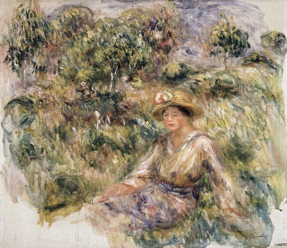 konfigurieren des Kunstdrucks in Wunschgröße Femme en bleu en chapeau assise sur lherbe von Renoir, Pierre-Auguste