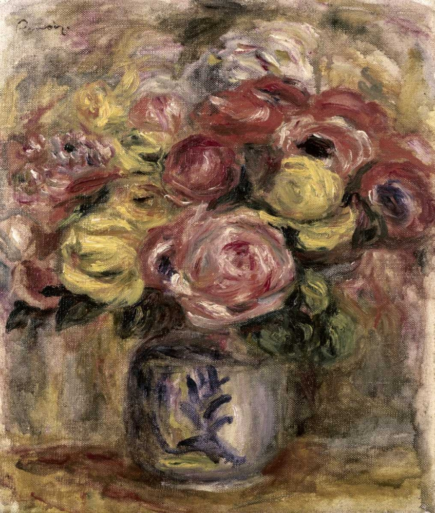 konfigurieren des Kunstdrucks in Wunschgröße Flowers in a Blue and White Vase von Renoir, Pierre-Auguste