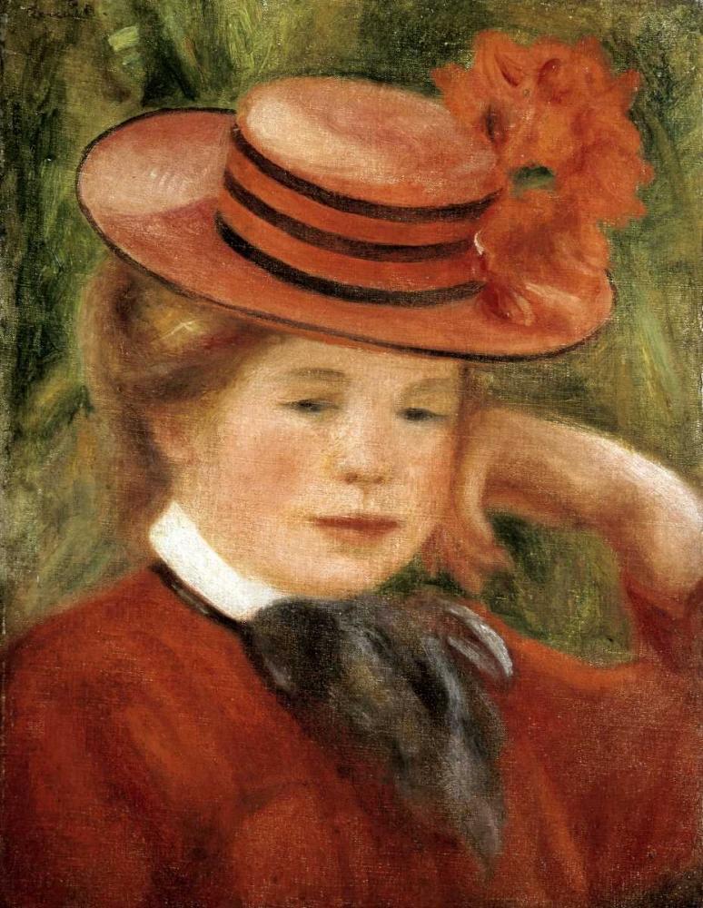 konfigurieren des Kunstdrucks in Wunschgröße Girl with a Red Hat von Renoir, Pierre-Auguste