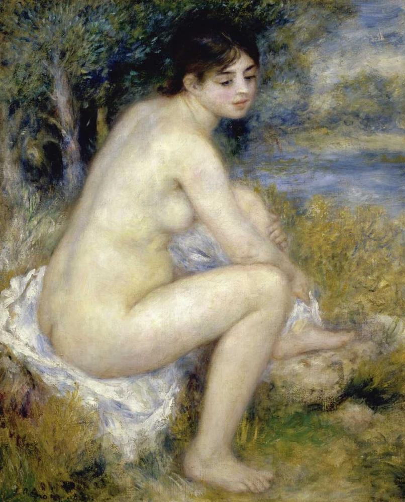 konfigurieren des Kunstdrucks in Wunschgröße Nude Woman Seated In A Landscape von Renoir, Pierre-Auguste