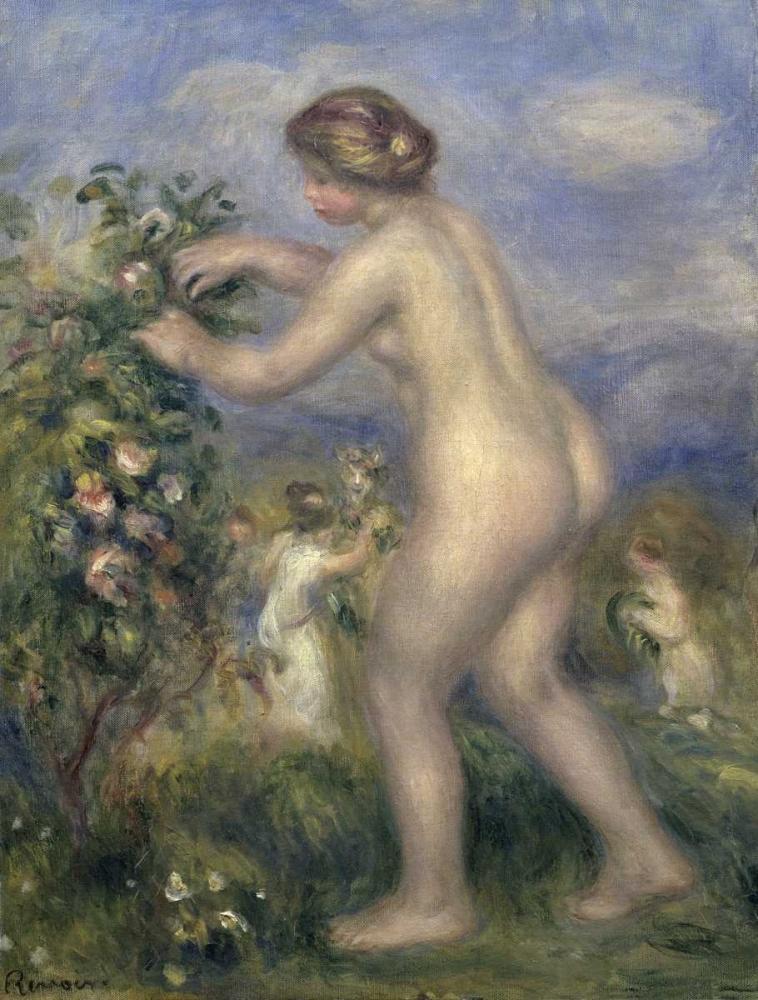 konfigurieren des Kunstdrucks in Wunschgröße Young Nude Girl Picking Flowers von Renoir, Pierre-Auguste