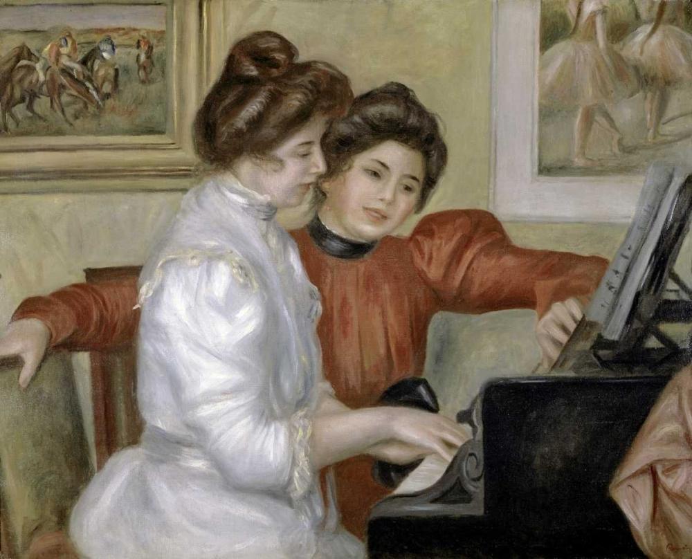 konfigurieren des Kunstdrucks in Wunschgröße Yvonne and Christine Lerolle at the Piano, 1897-1898 von Renoir, Pierre-Auguste