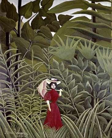 konfigurieren des Kunstdrucks in Wunschgröße Woman with an Umbrella in an Exotic Forest von Rousseau, Henri