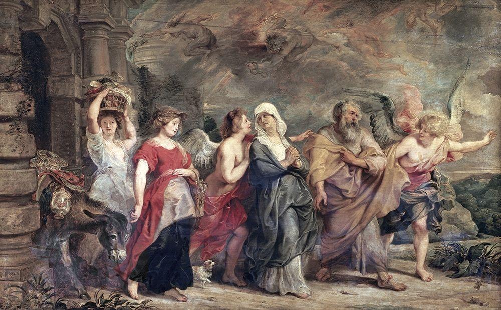 konfigurieren des Kunstdrucks in Wunschgröße Escape of Lot von Rubens, Peter Paul