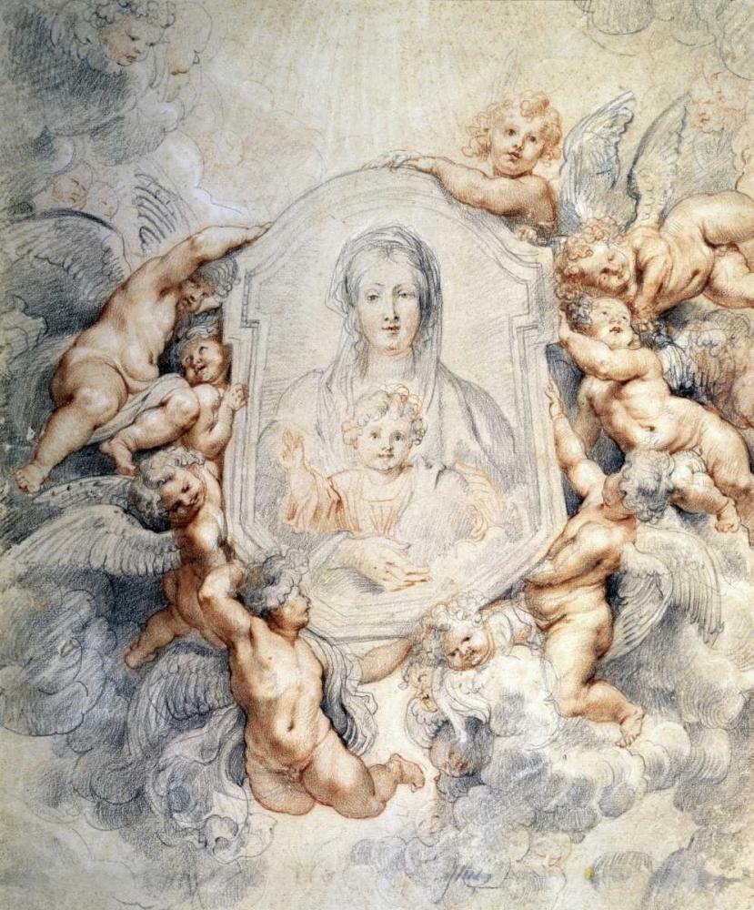 konfigurieren des Kunstdrucks in Wunschgröße Image of the Virgin Portrayed with Angels von Rubens, Peter Paul