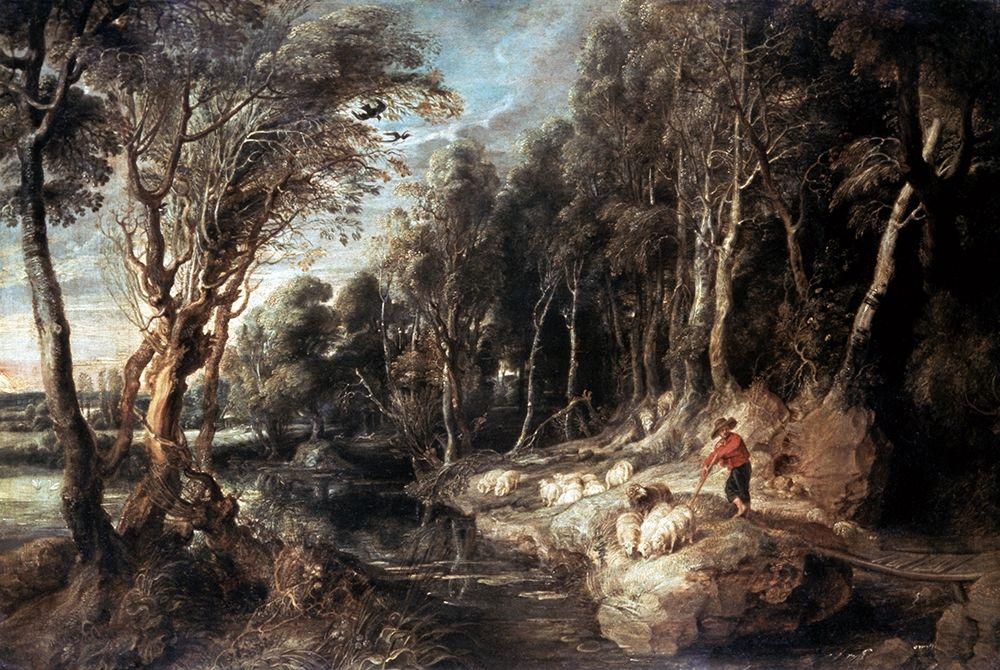 konfigurieren des Kunstdrucks in Wunschgröße Shepherd With His Flock von Rubens, Peter Paul