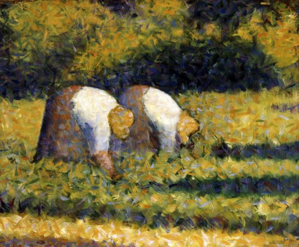 konfigurieren des Kunstdrucks in Wunschgröße Farm Women at Work von Seurat, Georges