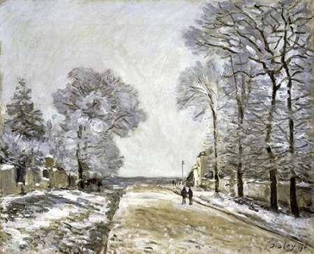 konfigurieren des Kunstdrucks in Wunschgröße The Road, Effect of Snow (La Route, Effet de Neige) von Sisley, Alfred