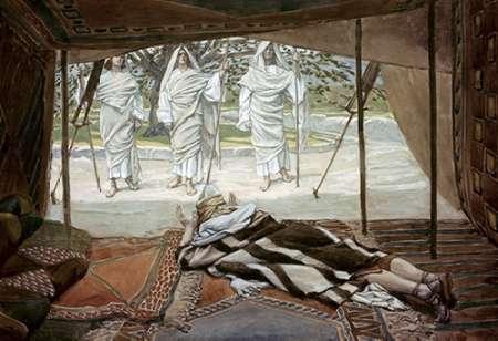 konfigurieren des Kunstdrucks in Wunschgröße Abraham and The Three Angels von Tissot, James