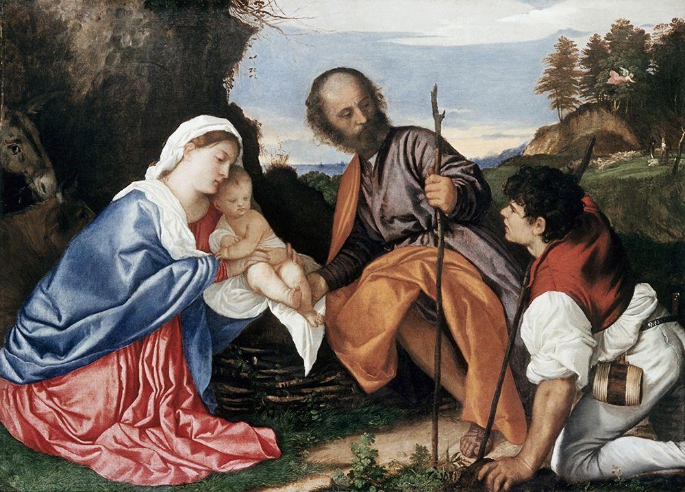 konfigurieren des Kunstdrucks in Wunschgröße Holy Family von Titian