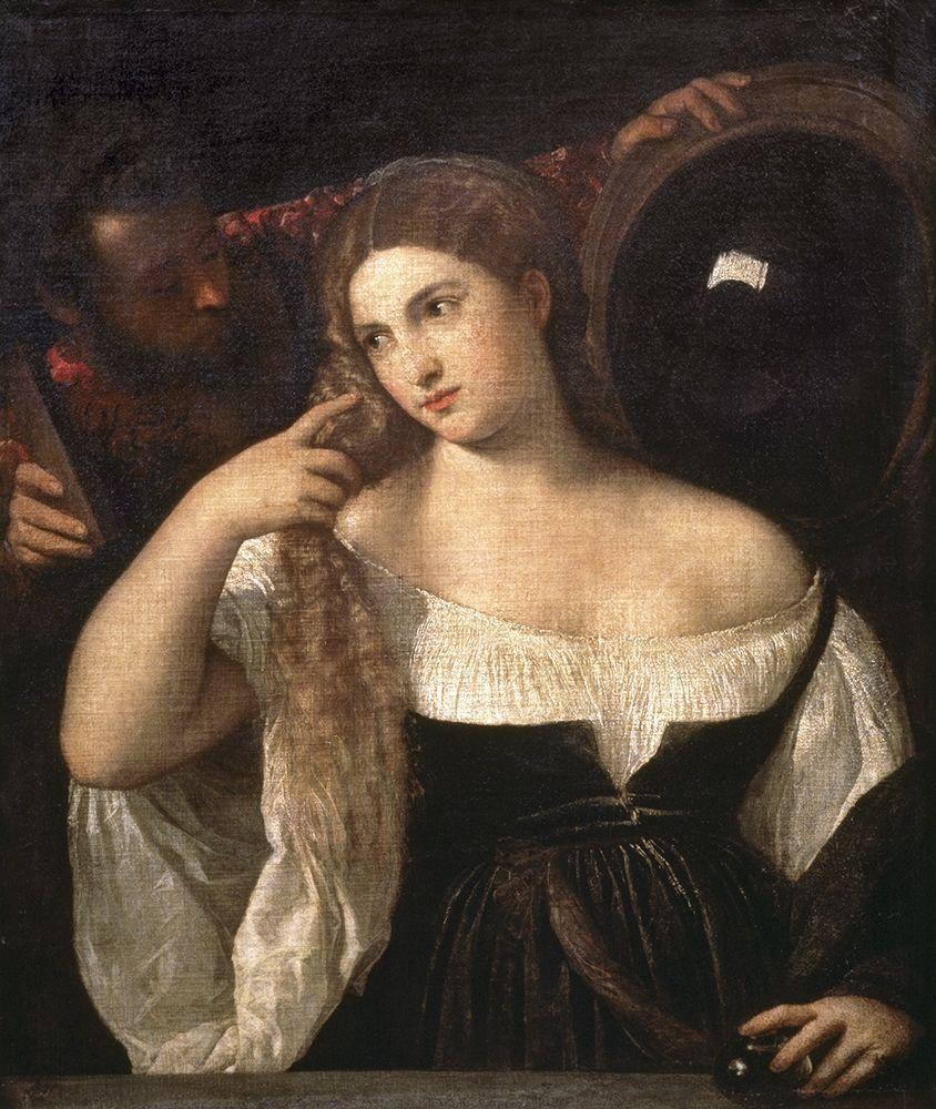 konfigurieren des Kunstdrucks in Wunschgröße Portrait of a Woman at Her Toilette von Titian