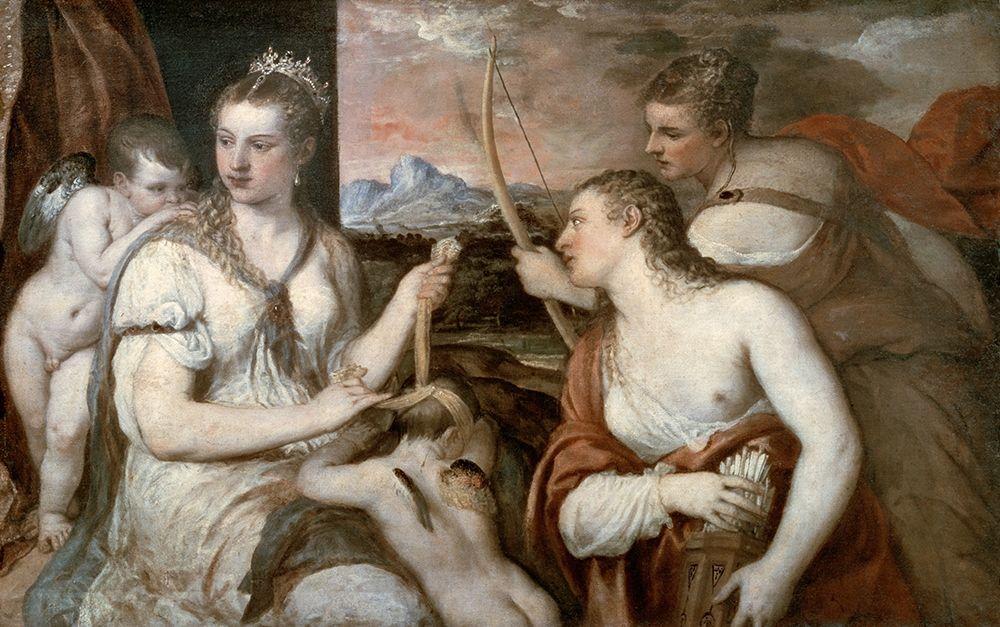 konfigurieren des Kunstdrucks in Wunschgröße Venus Blindfolding Cupid von Titian