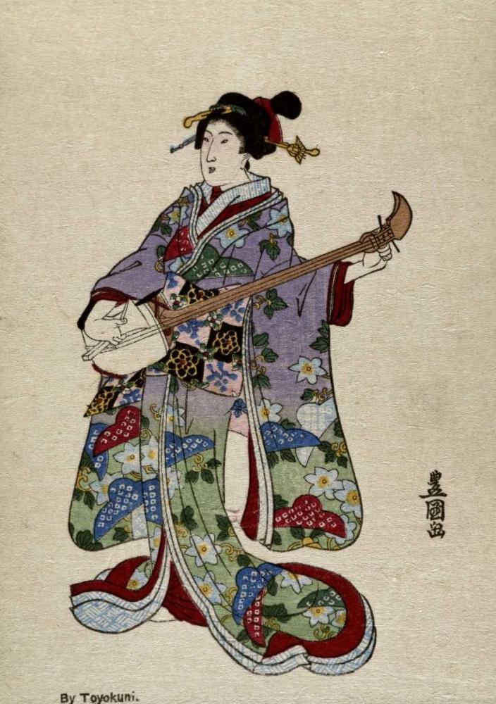 konfigurieren des Kunstdrucks in Wunschgröße Shamisen II von Toyokuni, Utagawa