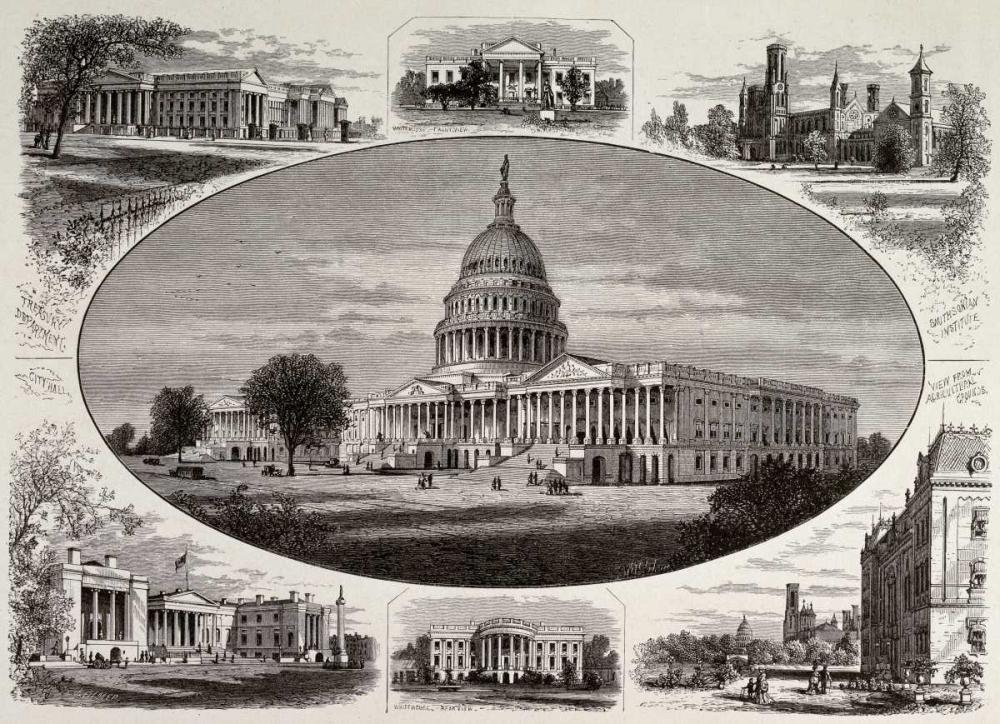 konfigurieren des Kunstdrucks in Wunschgröße Public Buildings In Washington von Unknown