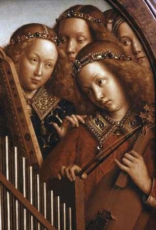 konfigurieren des Kunstdrucks in Wunschgröße Singing Angels - Ghent Altarpiece von Van Eyck, Jan