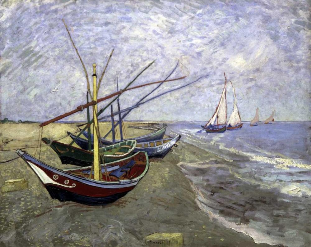 konfigurieren des Kunstdrucks in Wunschgröße Fishing Boats On The Beachat Saintes-Maries von Van Gogh, Vincent