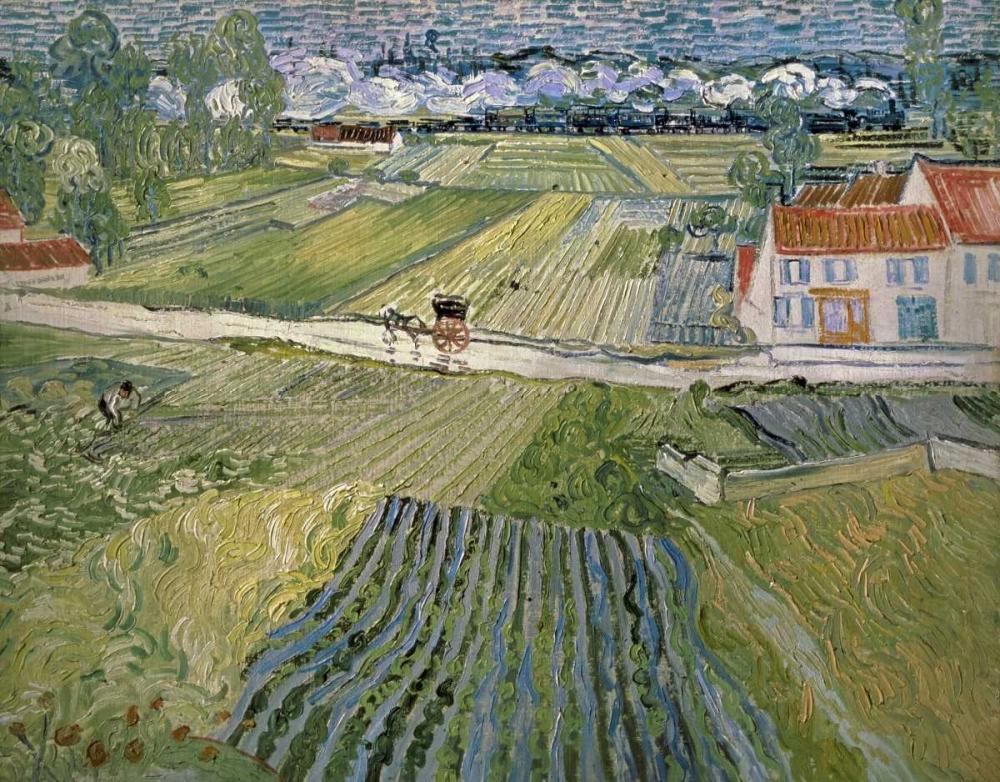 konfigurieren des Kunstdrucks in Wunschgröße Landscape With Carriage and Train von Van Gogh, Vincent