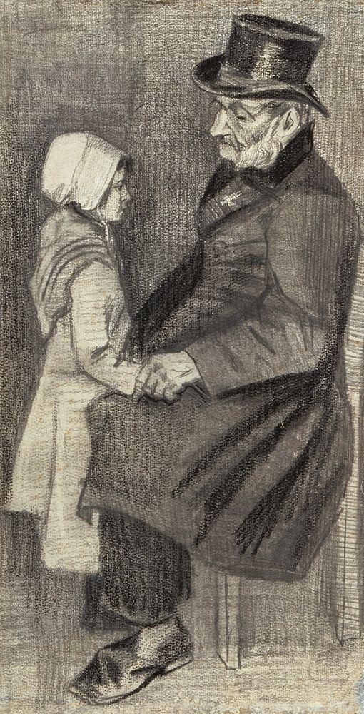 konfigurieren des Kunstdrucks in Wunschgröße Orphan Man, Sitting with Little Girl von Van Gogh, Vincent
