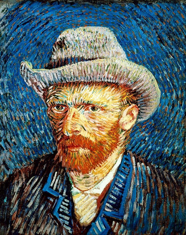 konfigurieren des Kunstdrucks in Wunschgröße Self Portrait in Grey Felt Hat von Van Gogh, Vincent