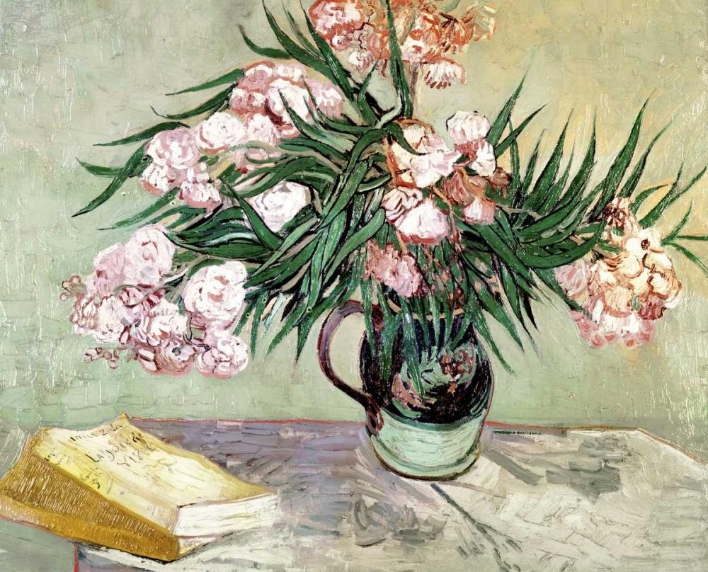 konfigurieren des Kunstdrucks in Wunschgröße Still Life: Vase with Oleanders and Books von Van Gogh, Vincent