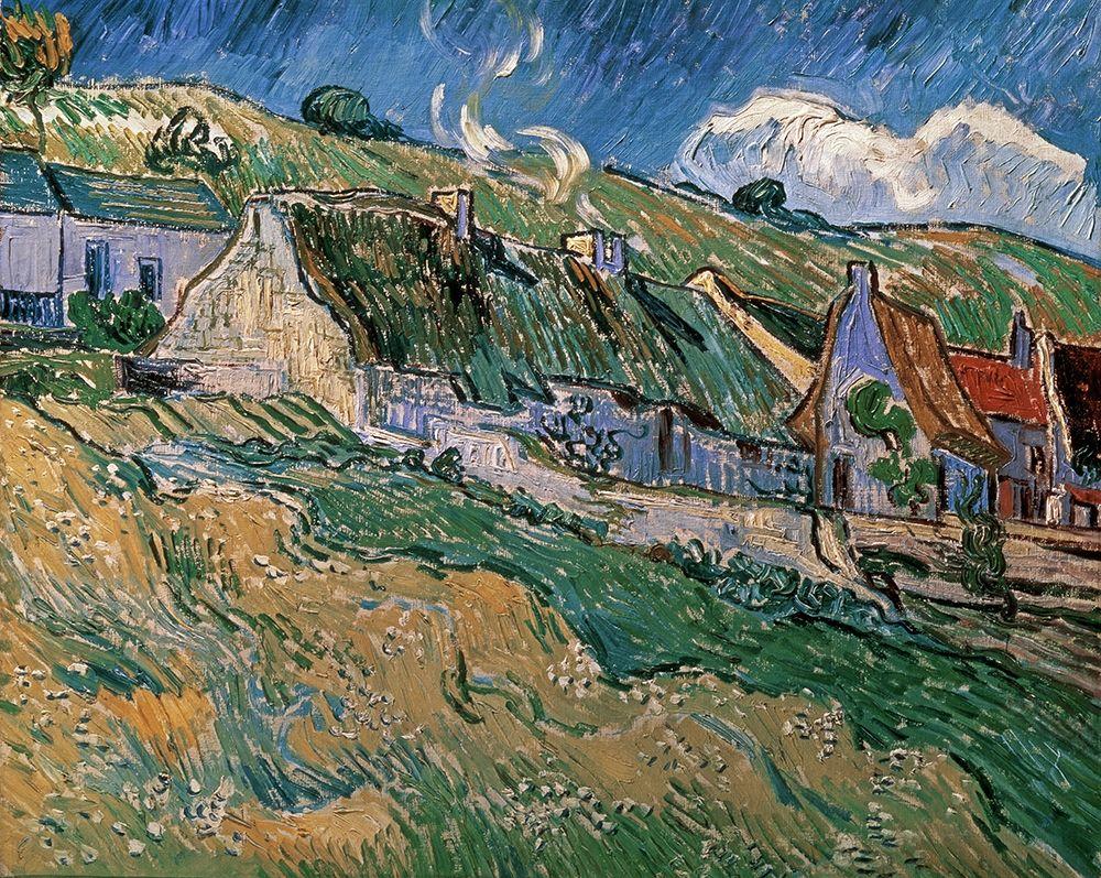 konfigurieren des Kunstdrucks in Wunschgröße Thatched Cottages von Van Gogh, Vincent