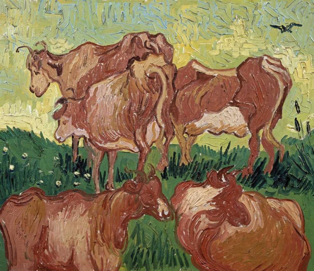 konfigurieren des Kunstdrucks in Wunschgröße The Cows von Van Gogh, Vincent