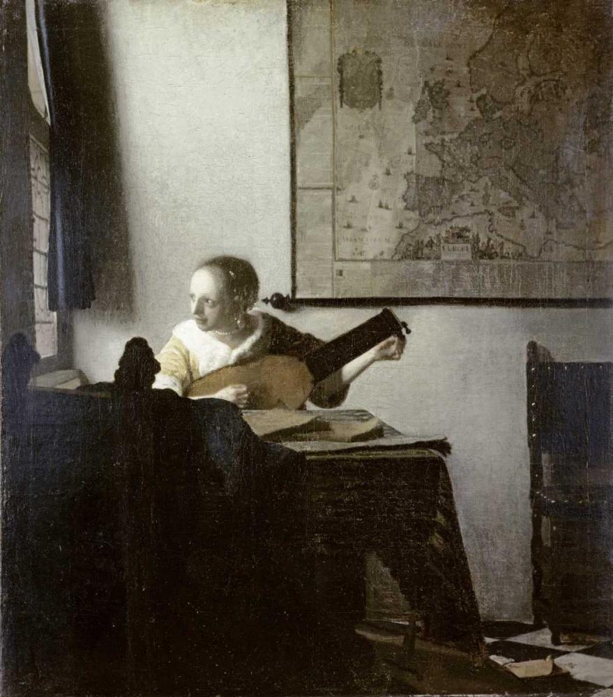 konfigurieren des Kunstdrucks in Wunschgröße The Lute Player von Vermeer, Johannes