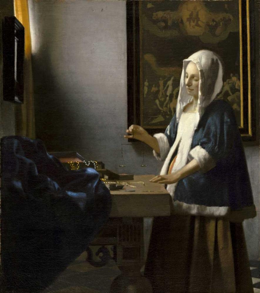 konfigurieren des Kunstdrucks in Wunschgröße Woman Holding a Balance von Vermeer, Johannes