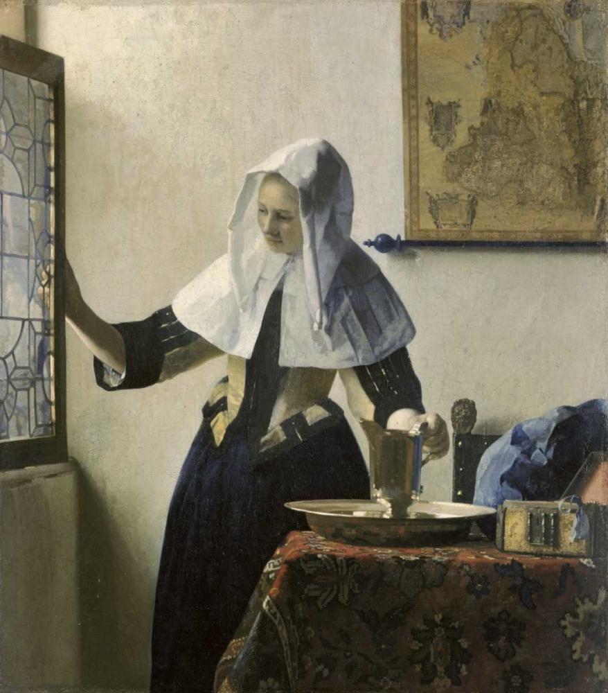 konfigurieren des Kunstdrucks in Wunschgröße Woman with a Water Jug von Vermeer, Johannes