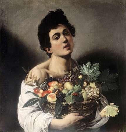 konfigurieren des Kunstdrucks in Wunschgröße Young Boy with Basketful of Fruit von Caravaggio
