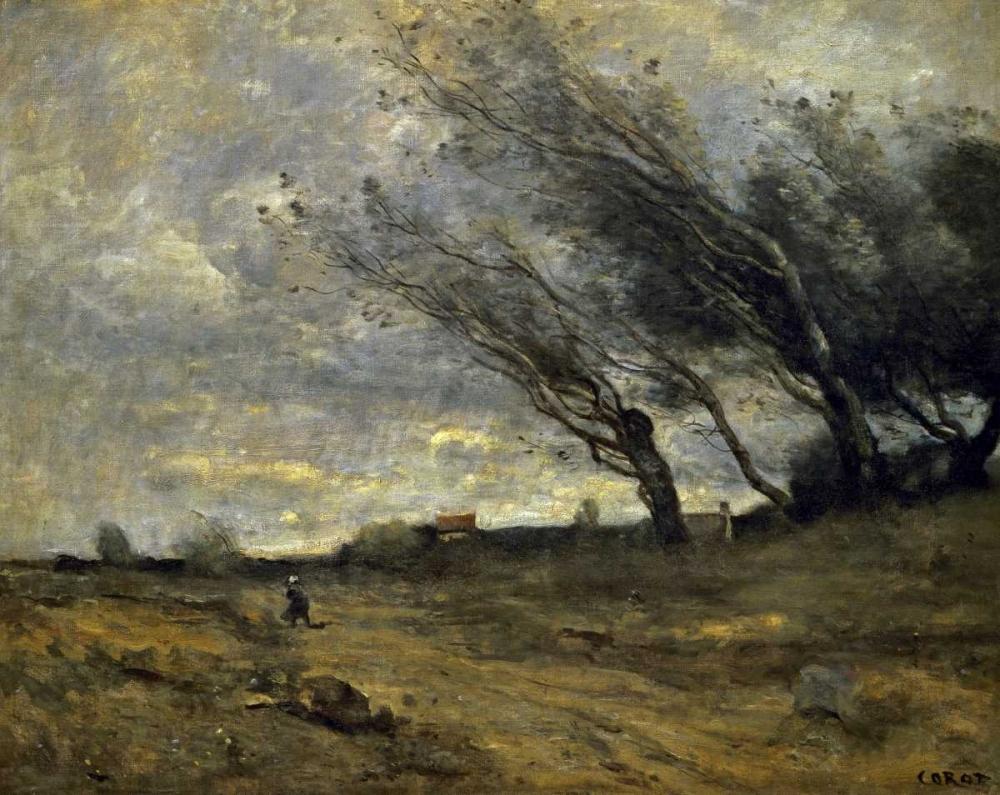 konfigurieren des Kunstdrucks in Wunschgröße A Gust of Wind von Corot, Jean-Baptiste-Camille