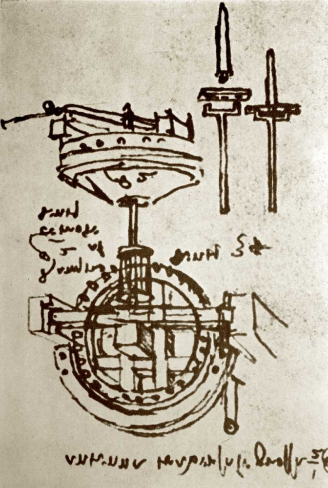 Mechanical Drawings No. 3 von Da Vinci, Leonardo <br> max. 53 x 81cm <br> Preis: ab 10€