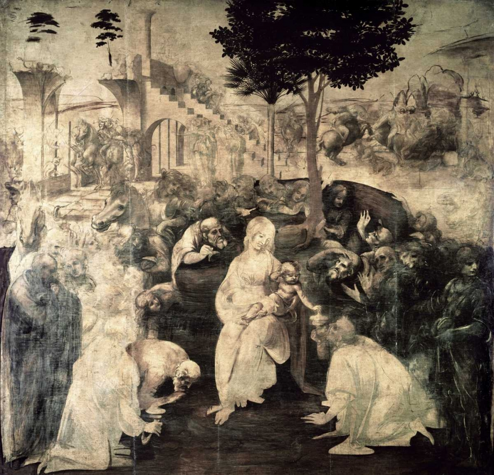 The Adoration of the Magi - underpainting von Da Vinci, Leonardo <br> max. 91 x 86cm <br> Preis: ab 10€