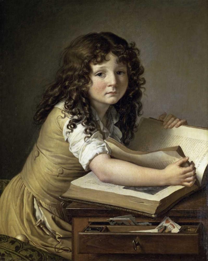 konfigurieren des Kunstdrucks in Wunschgröße A Young Child Looking at Figures in a Book von De Roucy-Trioson, Anne Girodet