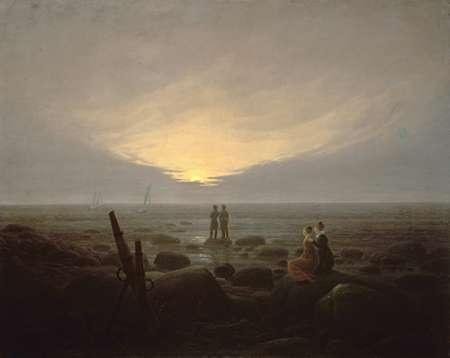 konfigurieren des Kunstdrucks in Wunschgröße Moonrise Over the Sea von Friedrich, Caspar David