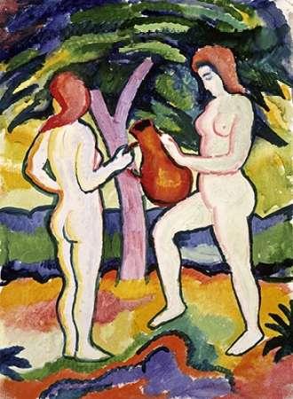 konfigurieren des Kunstdrucks in Wunschgröße Two Nudes with Jug von Macke, August