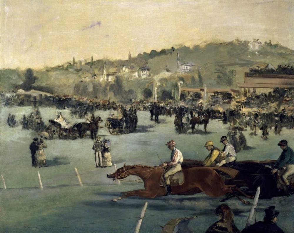 konfigurieren des Kunstdrucks in Wunschgröße Horse Track von Manet, Edouard