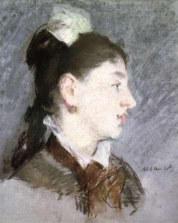 konfigurieren des Kunstdrucks in Wunschgröße The Young Woman with a Wing Collar, Profile (La jeune fille au col casse) von Manet, Edouard