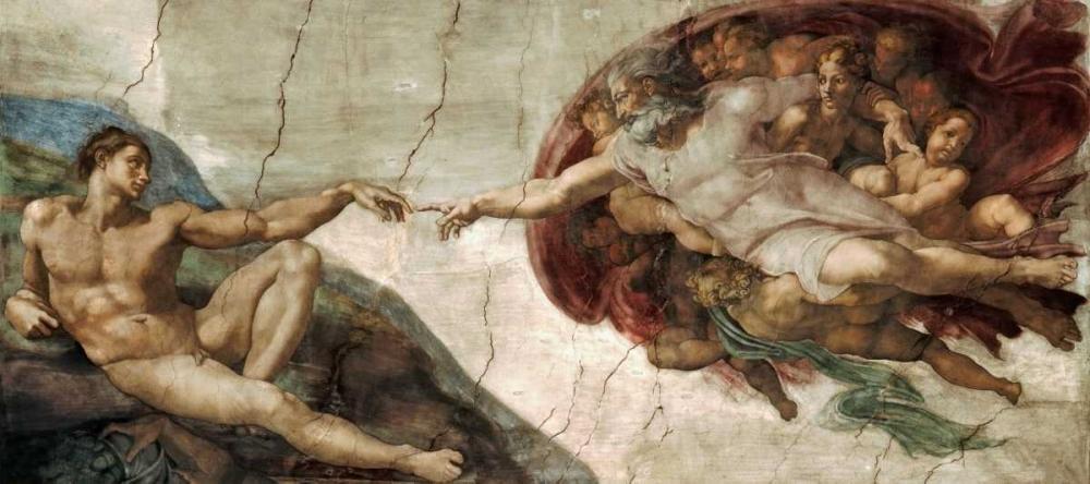 konfigurieren des Kunstdrucks in Wunschgröße Creation of Adam - Detail von Michelangelo