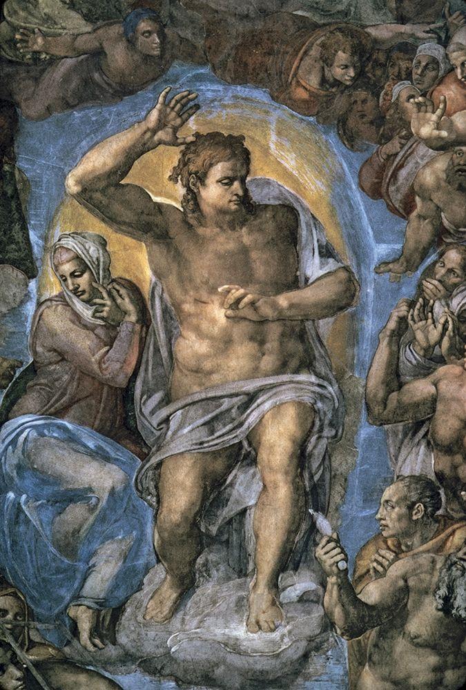 konfigurieren des Kunstdrucks in Wunschgröße The Virgin Trying to Intercede with Christ von Michelangelo
