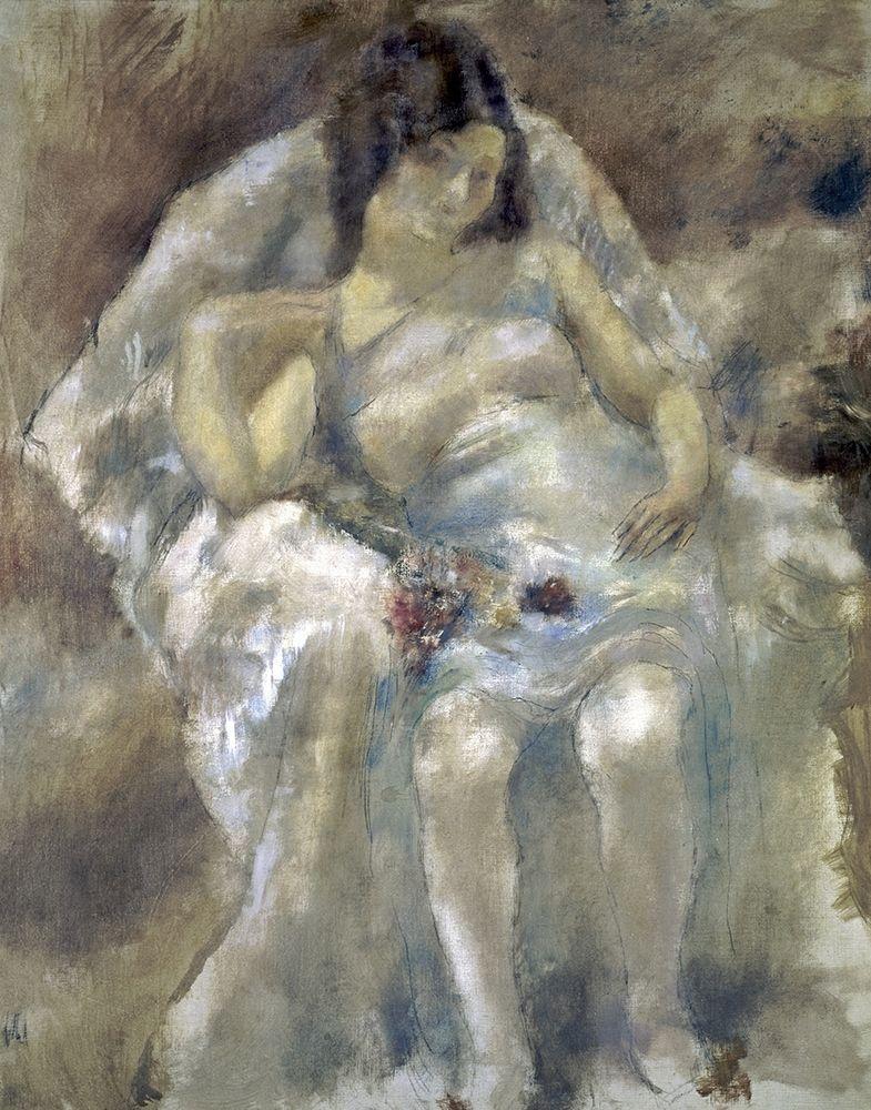 konfigurieren des Kunstdrucks in Wunschgröße Young Girl Seated With Flowers von Pascin, Jules