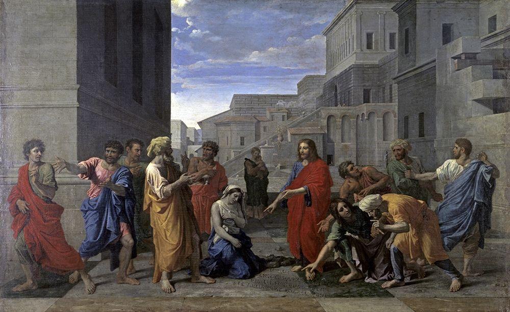 konfigurieren des Kunstdrucks in Wunschgröße Christ and the Woman Taken in Adultery von Poussin, Nicolas
