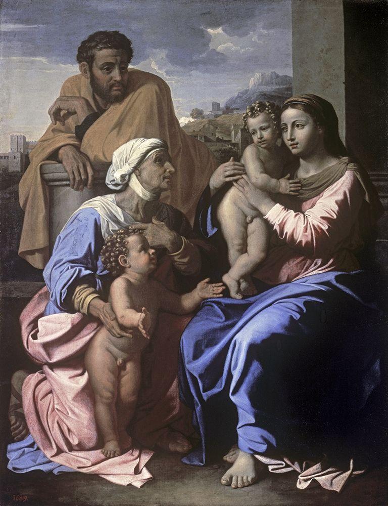 konfigurieren des Kunstdrucks in Wunschgröße The Holy Family with John the Baptist and St. Elizabeth von Poussin, Nicolas