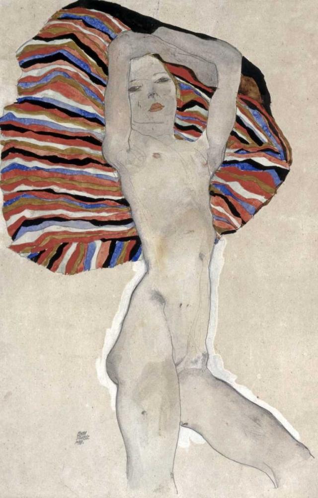 Madchenakt gegen farbiges Tuch, 1911 von Schiele, Egon <br> max. 71 x 112cm <br> Preis: ab 10€