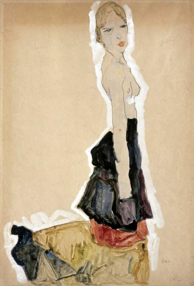 Knieendes Madchen Mit Spanischem Rock von Schiele, Egon <br> max. 71 x 107cm <br> Preis: ab 10€