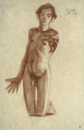 Kniender Junger Mann von Schiele, Egon <br> max. 66 x 102cm <br> Preis: ab 10€